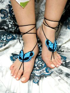 Crochet barefoot sandals black and turquoise by EmofoFashion, $16.00
