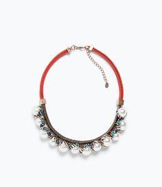 ZARA - DAMEN - Perlenkette mit roter Kette