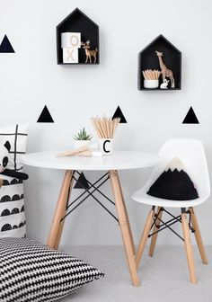 black and white decor with gold accents | kids room ideas | floating shelves |