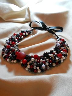 Colier handmade perlute Red and Black, by Colierehandmade, 80 Lei