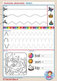 Observation of motor skills of toddlers, kindergarten idea, free printable – Knippen Educational Websites For Kids, Educational Crafts, Preschool Writing, Writing Activities, Learner Sign, Kindergarten, Handwriting Lines, Bullet Journal School, French Language Learning
