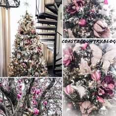 Pink Christmas Tree with Magnolias, King Protea flowers, Birds and Butterflies Pink Christmas Tree, Christmas Tree Decorations, Holiday Decor, Butterfly Tree, Butterflies, King Protea, Magnolias, Flowering Trees, Tropical Paradise