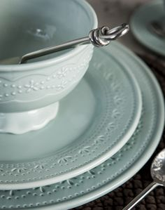 French Country's latest dinnerware range Tulle, in a duck egg blue with a delicate beaded leaf pattern. Absolutely Beautiful!
