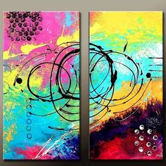 2pc Modern ABSTRACT Art Painting  20x20 Original by wostudios, $199.00
