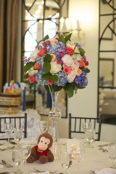 Baby Shower. Curious George Theme. Bouquet Centerpiece by Orchids N Bloom. Cheryl Richards Photography. Alden Castle. A LONGWOOD Venue.
