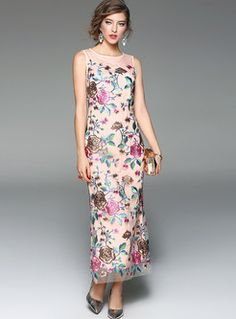 Sexy Mesh Patch Embroidered Maxi Dress