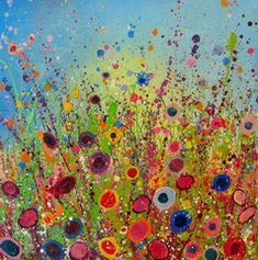 wall colors, color art, flower art, yvonn coomber, happy colors