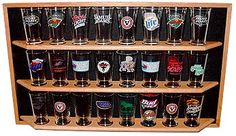 Oak Pint Beer Glass Display Shelf Details - Display Shack - Collectable Cases Racks & Shelving    I NEED one of these, SO many cool pint glasses... out of cabinet space!!