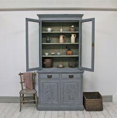 Distressed Painted Edwardian Mahogany Glazed Dresser - For Sale | Distressed But Not Forsaken