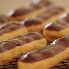 Easy Chocolate Eclair Recipe for all your spring holidays. This is a great one for Easter Sunday or Mother's Day! And they can all be made ahead of time! Just refrigerate and serve! day food ideas easy recipes How-To Make a Chocolate Eclair French Desserts, Köstliche Desserts, Delicious Desserts, Dessert Recipes, Yummy Food, Chocolate Eclair Recipe, Chocolate Recipes, Best Eclairs Recipe, Desert Recipes