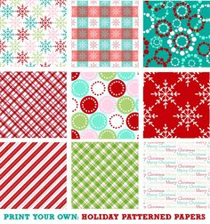 I designed some holiday patterned papers that you can download for free at my blog:  http://www.stephaniefizercoleman.com/blog/2011/12/20/free-download-holiday-patterned-papers.html    Enjoy!