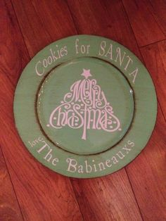 Cookies for Santa. Decorative Charger Plate. Christmas. Silhouette Cameo Craft for the Home