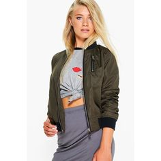 Boohoo Amber Zip Detail Bomber Jacket ($26) ❤ liked on Polyvore featuring outerwear, jackets, bomber style jacket, flight jacket, blouson jacket, bomber jacket and khaki bomber jacket