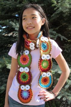 colorful owl scarf~$5.50~Pattern~ Great Inspiration. Might not need a pattern to make it.