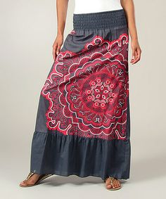 Look at this #zulilyfind! Charcoal & Red Scarf Print Maxi Skirt by Aller Simplement #zulilyfinds