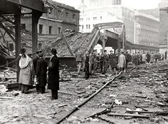 MAY Blitz damage along the Overhead Railway at the junction of James and Strand streets. Liverpool City Centre, Liverpool Home, Liverpool Street, Liverpool England, London Bombings, Liverpool History, The Blitz, London Pictures, Vintage London