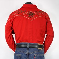 36S4193-64 - Red western style shirt with western yoke, floral embroidery design throughout shirt, two front smiley pockets, sextuple snap cuffs, and a spread collar. - Alcala's Western Wear