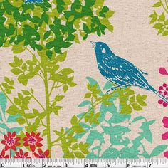Etsuko Furuya's latest nature-inspired collection is here! Echino Fall 2011 brings us stunning botanicals and beautiful wildlife presented in bold technicolor! This border print features perching birds and lush foliage. This print is railroaded.This medium-weight Japanese fabric is 55�0linen and 45�0cotton and is 43/44