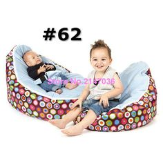 Discojelly balls with blue seat baby bean bag chair, 2 upper cover tops kids beanbag sleeping cushion, portable seat
