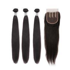 【Grade 6A】Virgin Indian Straight Hair 3 Bundles With 1pcs Three Part Lace Closure Natural Balack 350g