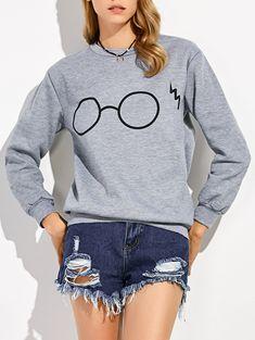 Harry Potter Glasses Print Pullover Sweatshirt