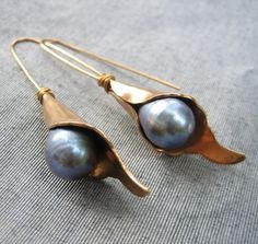 Calla Lily Pearl Earrings by StaroftheEast on Etsy