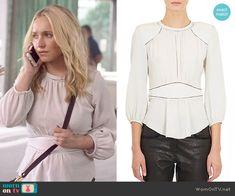 Juliette's white peplum blouse on Nashville.  Outfit Details: http://wornontv.net/53152/ #Nashville