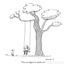 """""""Fun can happen to adults, too."""" - New Yorker Cartoon Premium Giclee-trykk av Liza Donnelly hos AllPosters.no"""