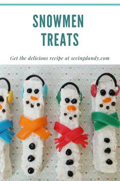Such a fun recipe! These snowmen rice krispies treats are delicious and kids will love making them for the holidays! Such a fun recipe! These snowmen rice krispies treats are delicious and kids will love making them for the holidays! New Year's Desserts, Cute Desserts, Christmas Desserts, Christmas Treats, Dessert Recipes, Dessert Ideas, Winter Desserts, Party Recipes, Christmas Cookies