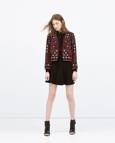 Image 1 of EMBROIDERED JACKET WITH DOTTED MESH from Zara