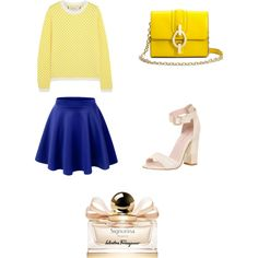 """Signorina"" by workingincloset on Polyvore #BLUE #YELLOW #FASHION #SHOES #MINIBAG #OUTFIT #FASHIONBLOGGER #COLOR #OOTD #LOOKOFTHEDAY #WORKINGINCLOSET"