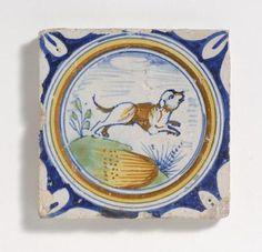 rare polychrome tile with dog