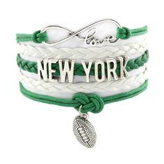 Infinity Love New York Jets Football - Show off your teams colors! Denver Broncos Funny, Denver Broncos Womens, Denver Broncos Football, Nfl Jets, New York Jets Football, Sport Themed Crafts, Football Bracelet, Infinity Love, Love Bracelets