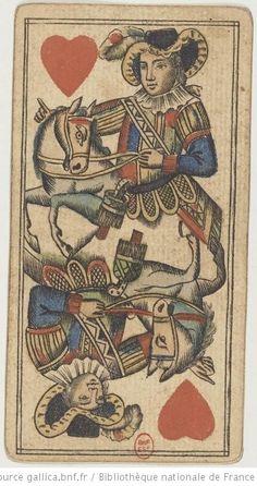 """[Jeu de tarot viennois à enseignes de fantaisie au portrait à deux têtes et à décor de monstres marins et de personnages chinois, dit """"portrait Lemberg""""] : [jeu de cartes, estampe] Date d'édition : 180011"""