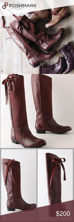 "❤️Anthropologie Bow Boots❤️ The color of these is stunning, photos don't do them justice! Worn only once, paid $238+ tax. I will only consider reasonable offers through the offer button, NO TRADES!!   Gridee updates the riding boot with perforated wine-hued leather and a draped sash.   Fits true to size Pull-on styling Leather upper, insole Synthetic sole 1"" stacked leather heel 15.25""H; 14"" circumference Anthropologie Shoes Heeled Boots"