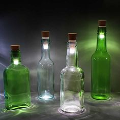 Bottle Light: atmospheric lamps by Steve Gates – upcycleDZINE #upcycle #reuse #lighting #led