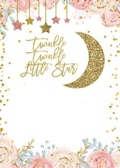 Shop Gold Pink Twinkle Twinkle Little Star Baby Shower Invitation created by HappyPartyStudio. Baby Girl Shower Themes, Baby Shower Princess, Baby Shower Decorations For Boys, Baby Shower Gender Reveal, Baby Shower Invites For Girl, Twinkle Twinkle Little Star Decorations, Twinkle Star Party, Baby Shower Invitaciones, Star Baby Showers