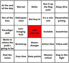 Buzzword Bingo is a game involving business jargon. Buzzword Bingo, Definitions, Card Games, School Ideas, Investing, Playing Card Games