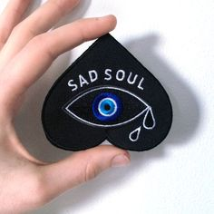 SAD SOUL Patch - denim jacket patch, leather jacket, woven patch, embroidered…