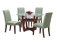 Finish off your kitchen or dining room with the Alcove Table Set.      This 5-piece package includes a 48 round Table and four upholstered Chairs.     A perfect marriage of glass, wood and metal.     These three design elements meld to create a contemporary style.     Legs are all-wood.     Chairs are upholstered for amazing comfort.     Chairs also available in other colors.     View our wide assortment of Aclove Dining Pieces online or visit a store close to home.      SKU: 1458876