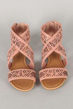Criss Cross Open Toe Flat Sandal