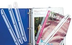 """Now an easy way to store your magazines and leaflets.  Slide the magazine into the slot. Store them in a binder.  You dont have to punch holes in them ever again!  The bookkeeper will handle 11"""" tall magazines or leaflets. There are a dozen (12) per package. #stitching #needlework #embroidery"""