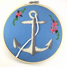 Gorgeous fiber art anchor hoop art