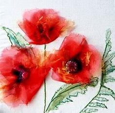 Oriental Poppies Exotic Flower Textile Embroidery Kit - Rowandean Embroidery Kit, Oriental Poppies, from the Exotic Flowers Range. NEW - just released. A bold, beautiful design that uses easy stitches, with stunning texture created by the use of richly coloured organza for instant effect.