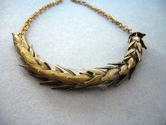 Antique brass wheat necklace. $32.00, via Etsy.