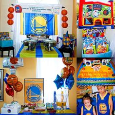 Birthday themed Party 14th Birthday, 3rd Birthday Parties, Boy Birthday, Birthday Ideas, Basketball Party, Golden State, Birthday Invitations, Party Time, Party Supplies