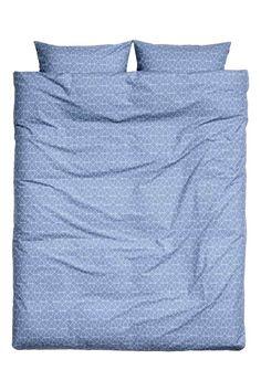 Vzorovaná sada povlečení - Holubí modř - HOME | H&M CZ 1