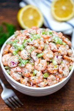 Shrimp Salad Recipe [Video] - Sweet and Savory Meals Sea Food Salad Recipes, Shrimp Salad Recipes, Salad Recipes Video, Seafood Salad, Shrimp Dishes, Potluck Recipes, Seafood Recipes, Cooking Recipes, Healthy Recipes