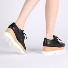 Maya Stacked Flatform Shoes in Black for $60 - The perfect dupe of Stella McCartneyFaux leather platform brogues