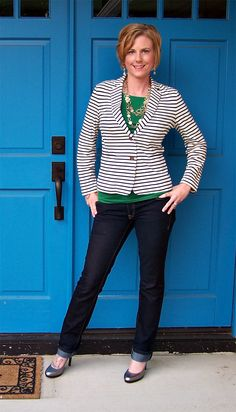 Navy stripes + green #outfit